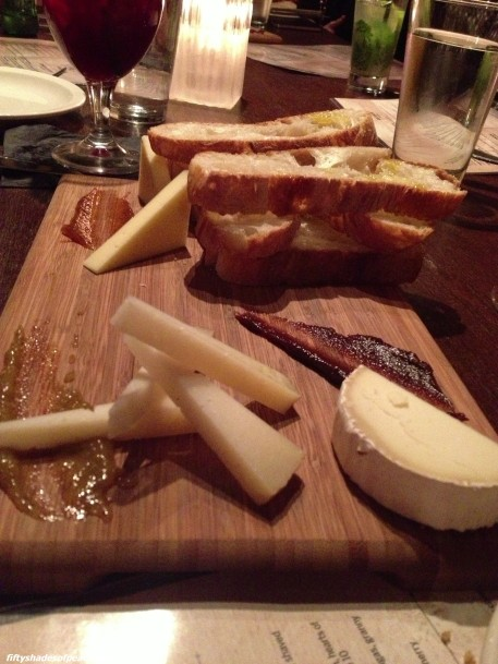 #2 Cheese plate - Manchego, Mahon, and Canja de Oveja with blackberry, apricot and fig? fruit compotes. Served with artisan bread with the most amazing olive oil.