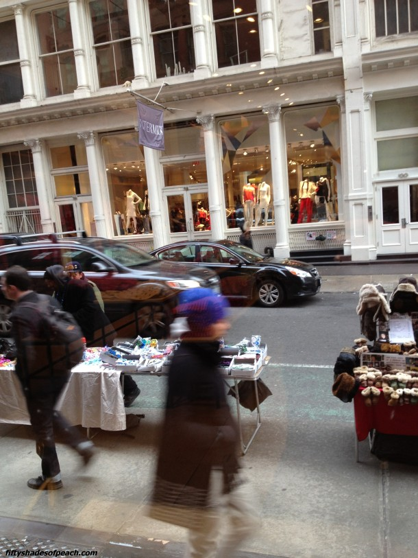 Shopping. Traffic. Vendors. J.Crew, Soho.