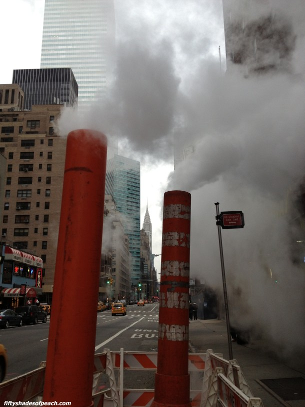Steam stacks and Chrysler Building